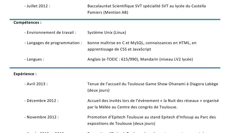 comment on fait un cv